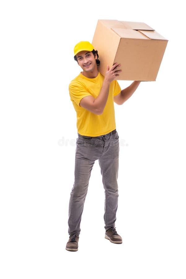 Il giovane corriere maschio con la scatola immagini stock libere da diritti