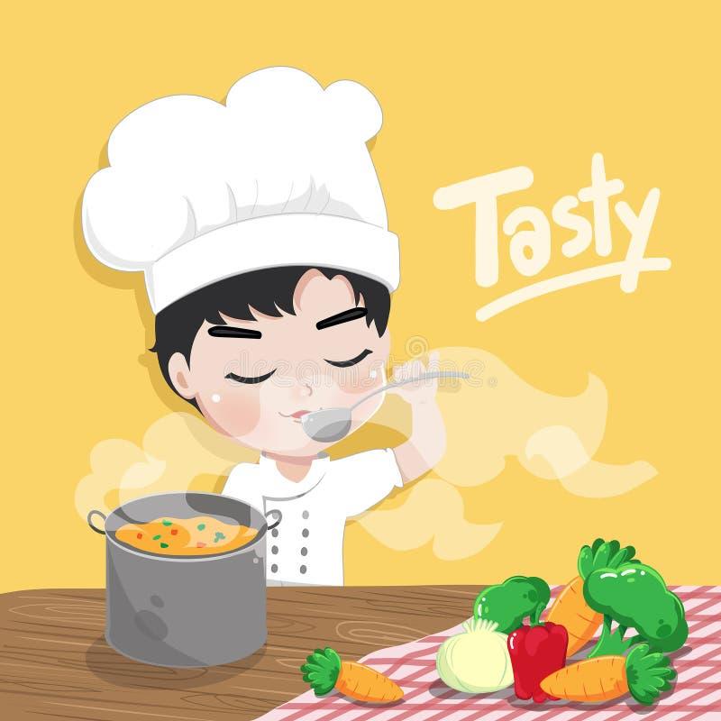Il giovane cuoco unico sta avendo un sapore illustrazione di stock