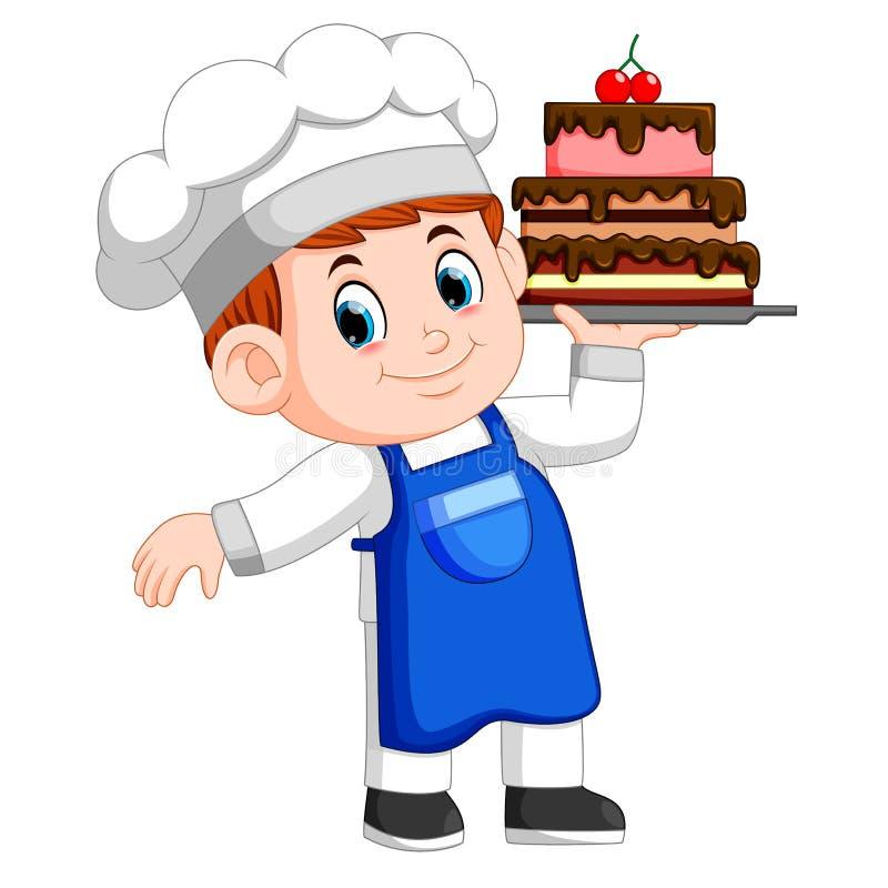 Il giovane cuoco unico tiene un vassoio con il dolce illustrazione di stock