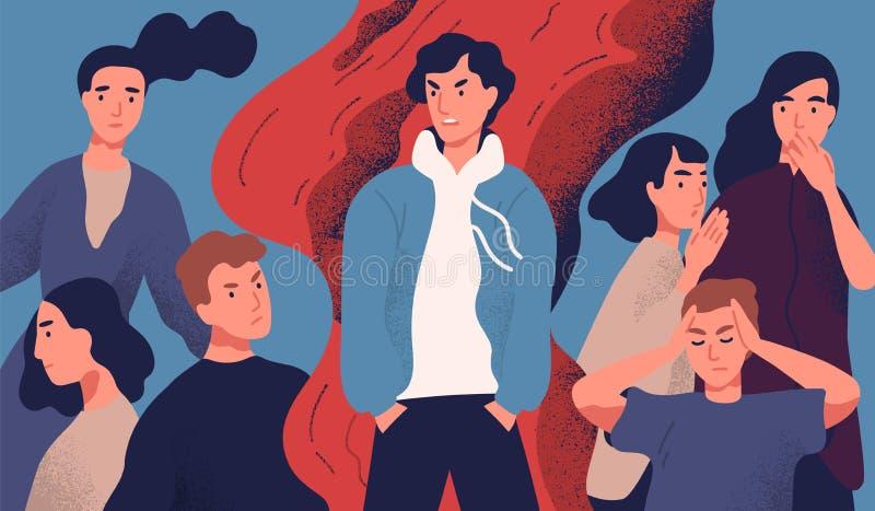 Il giovane egoista ha rifiutato dalla società a causa del suo comportamento seccante Concetto del problema psicologico, comunicaz royalty illustrazione gratis