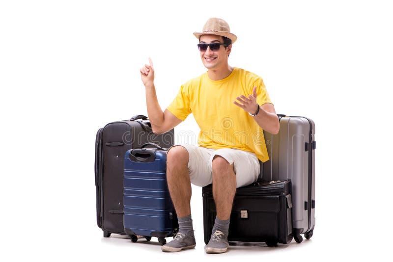Il giovane felice che va sulle vacanze estive isolate su bianco immagine stock libera da diritti