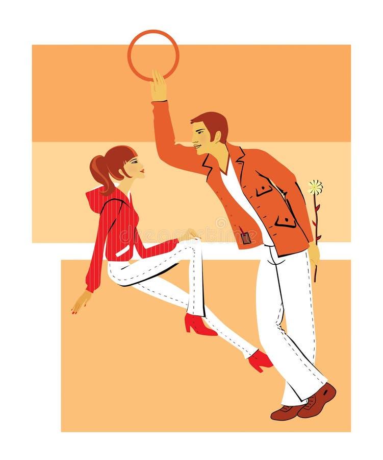 Il giovane flirta con una ragazza, tenente il fiore lei royalty illustrazione gratis
