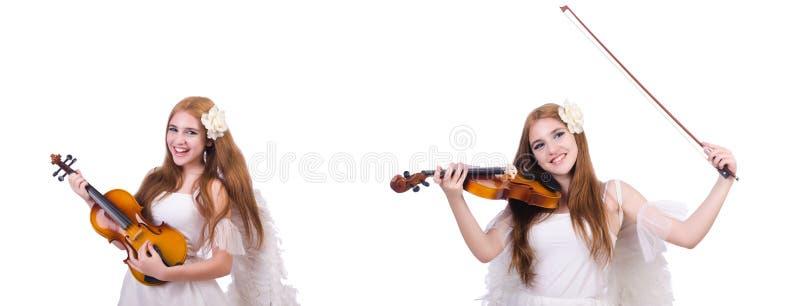 Il giovane giocatore del violino isolato su bianco immagini stock