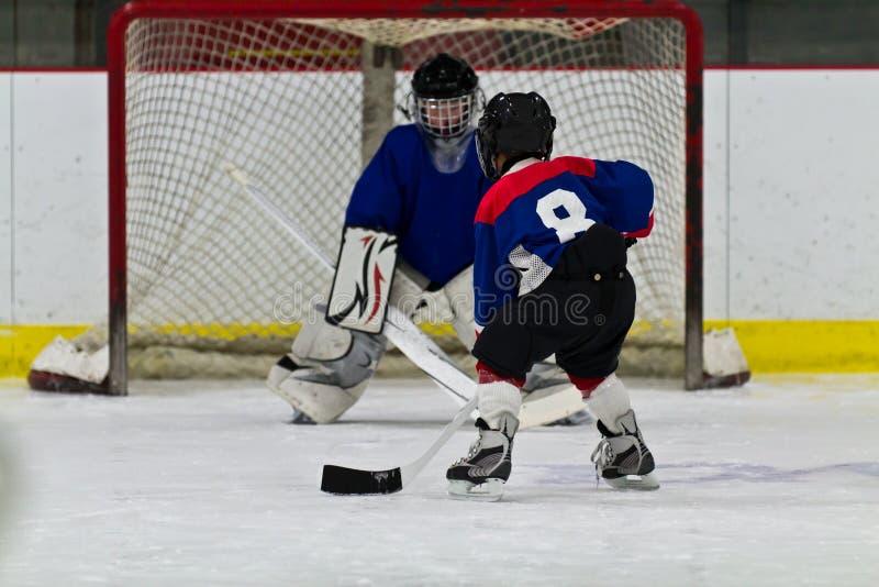 Il giovane giocatore di hockey su ghiaccio prepara sparare su rete fotografia stock