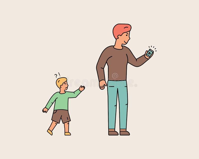 Il giovane ha dimenticato il ragazzino mentre esaminava il telefono royalty illustrazione gratis