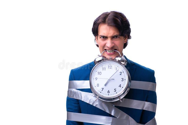 Il giovane impiegato legato nel concetto della gestione di tempo fotografie stock libere da diritti