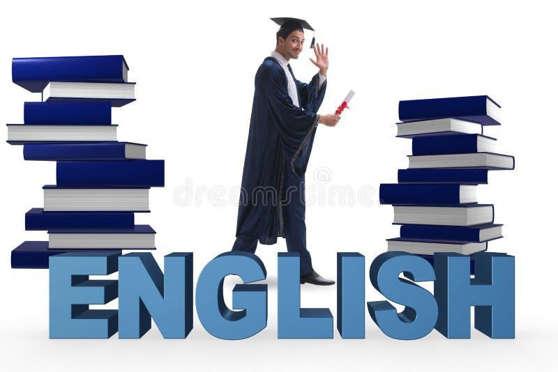 Il giovane laureato nel concetto di istruzione di lingua inglese su bianco immagine stock libera da diritti