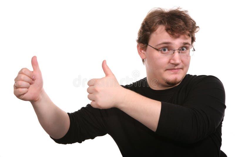 Il giovane mostra i gesti immagini stock libere da diritti