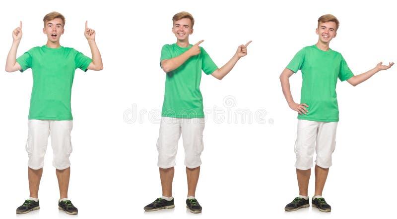 Il giovane ragazzo in maglietta verde isolata su bianco immagini stock
