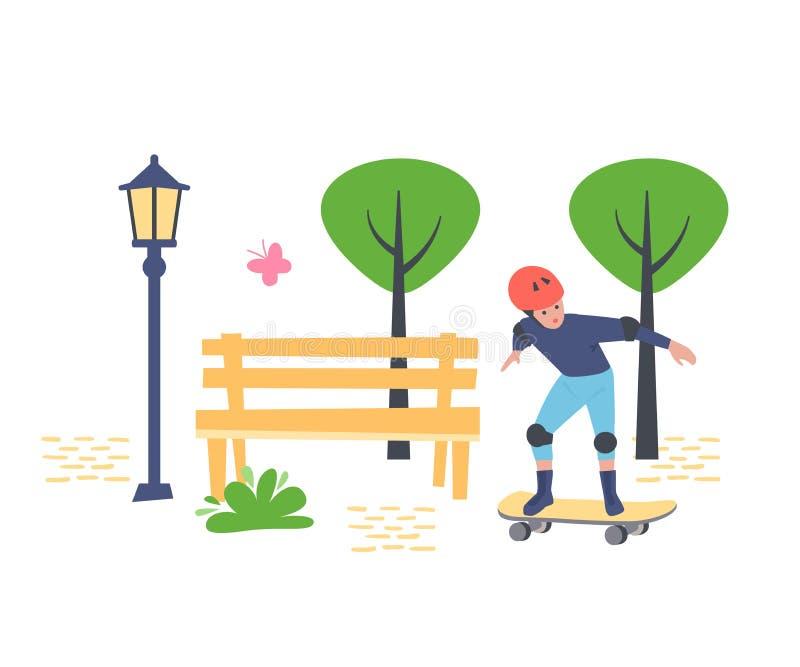 Il giovane ragazzo, skateboarder negli sport uniforma, camminando nel parco della ricreazione illustrazione vettoriale