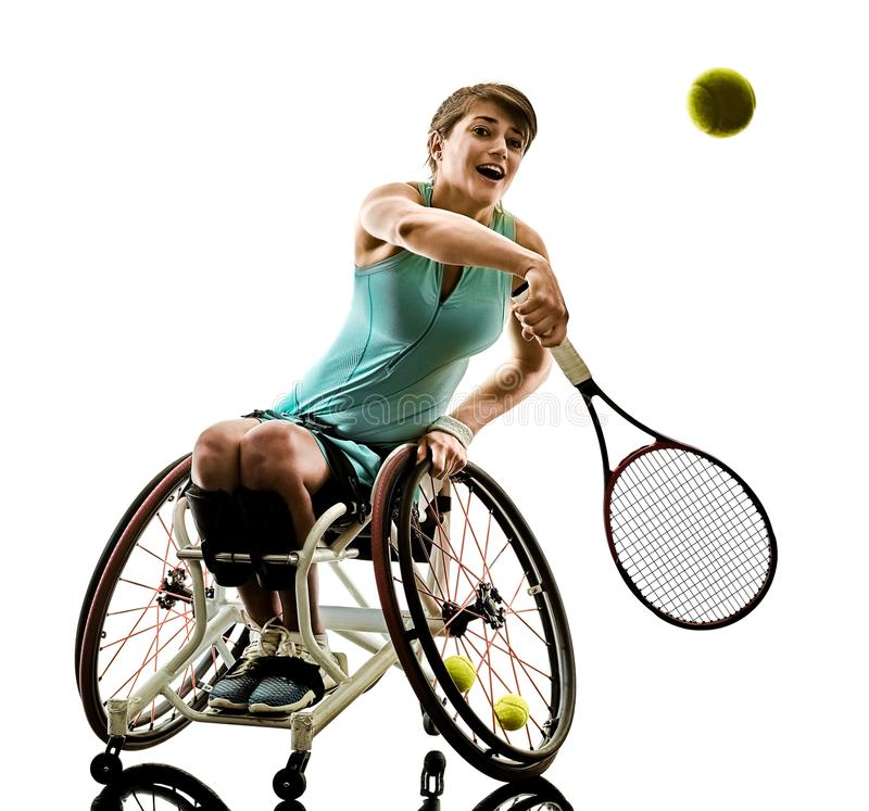 Il giovane sport handicappato del welchair della donna del tennis ha isolato il si fotografia stock libera da diritti