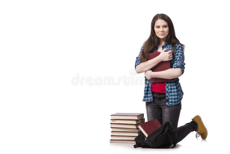 Il giovane studente che prepara per gli esami della scuola fotografie stock libere da diritti