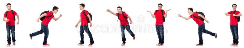 Il giovane studente con lo zaino isolato su bianco fotografia stock