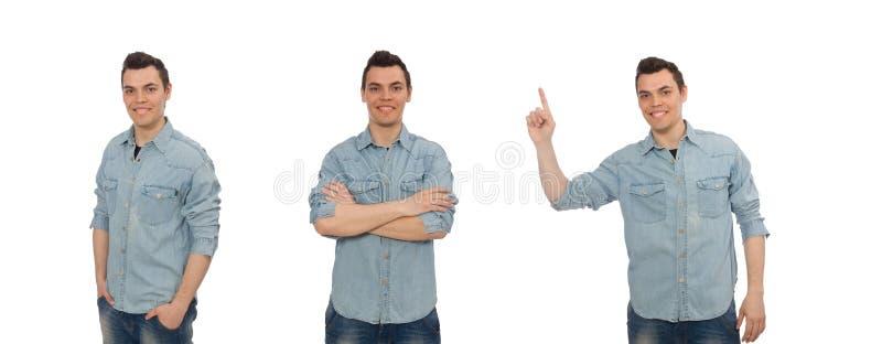 Il giovane studente maschio su bianco fotografia stock libera da diritti