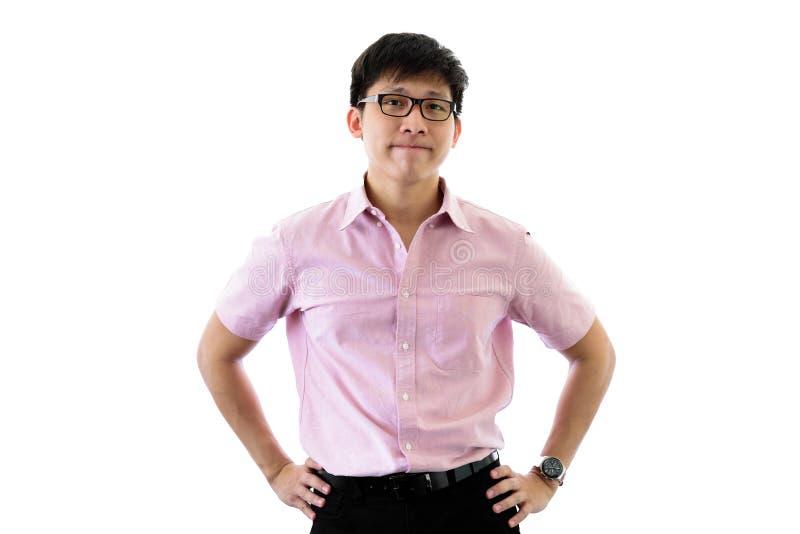 Il giovane uomo d'affari asiatico ha la condizione e pianificazione per lo scopo di affari con felice sull'isolato su sul fondo d fotografie stock