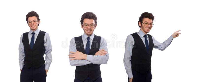 Il giovane uomo d'affari nel concetto divertente su bianco immagine stock