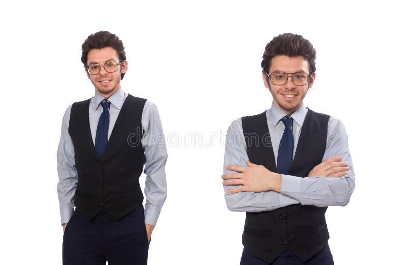 Il giovane uomo d'affari nel concetto divertente su bianco immagini stock libere da diritti