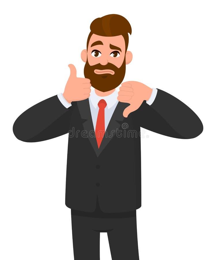 Il giovane uomo di affari che mostrano i pollici su ed i pollici giù gesture Come ed avversione Acconsenta e sia in disaccordo royalty illustrazione gratis
