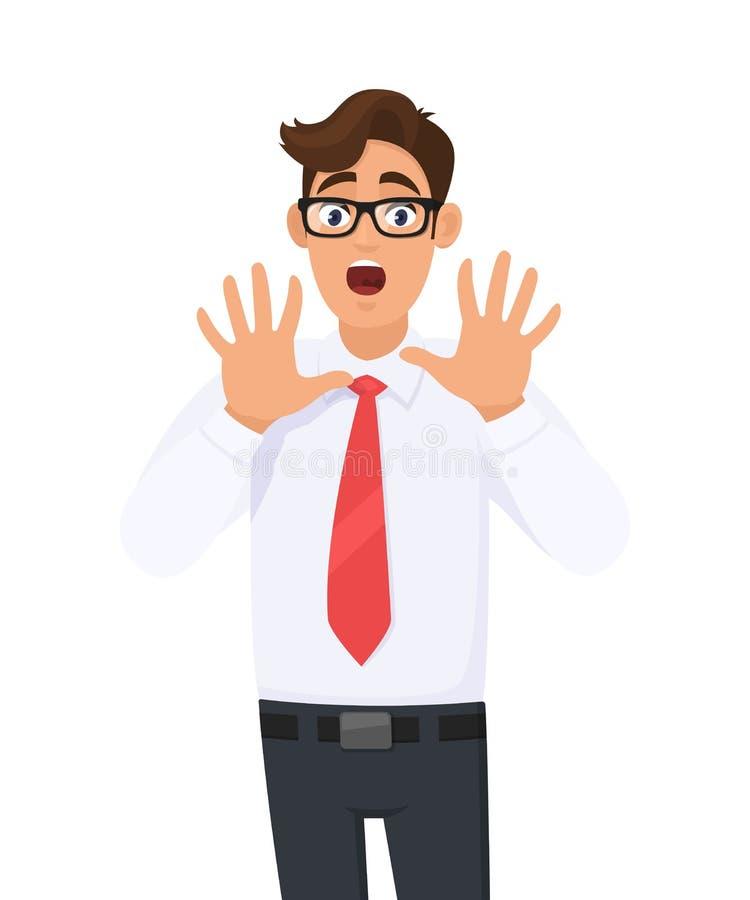 Il giovane uomo di affari ha colpito, impaurito, spaventato e terrorizzato con l'espressione di timore mentre bocca aperta, gesto illustrazione vettoriale