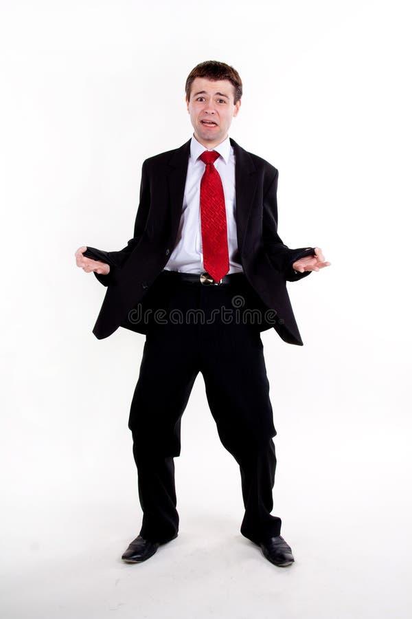 Il giovane uomo di affari ha spaventato fotografia stock