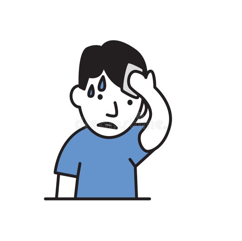 Il giovane uomo di sudorazione pulisce la sua fronte Icona piana di progettazione Illustrazione piana di vettore Isolato su prior royalty illustrazione gratis