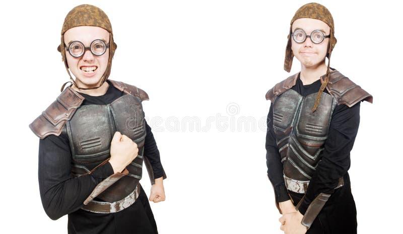 Il giovane uomo divertente nel vestito dell'armatura fotografie stock