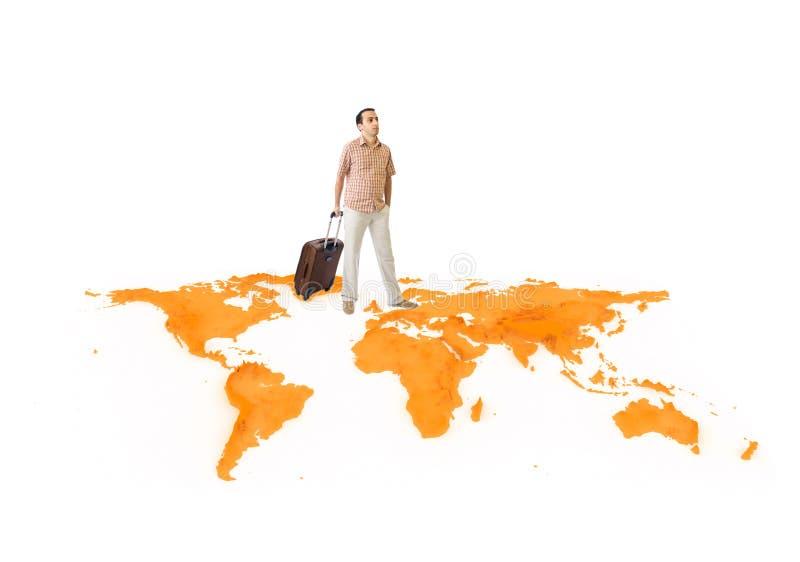 Il giovane viaggia intorno al mondo immagine stock