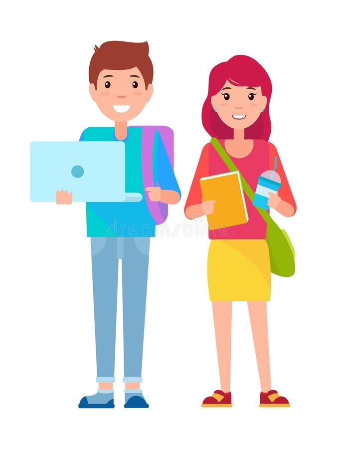 Il giovani ragazzo e ragazza Vector insieme l'illustrazione royalty illustrazione gratis