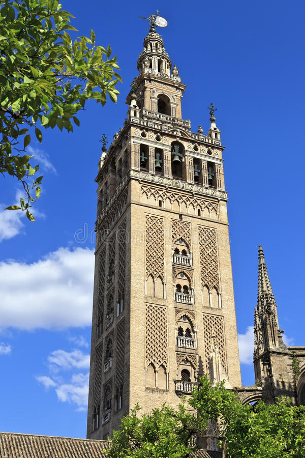 Il Giralda, campanile della cattedrale di Siviglia in Siviglia, Spagna immagini stock libere da diritti