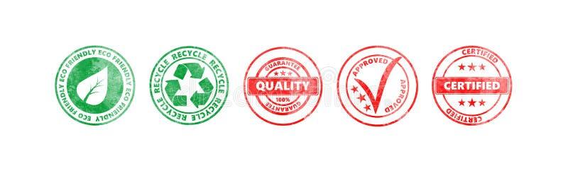 Il giro rosso e verde timbra con testo isolato su fondo bianco, insegna royalty illustrazione gratis