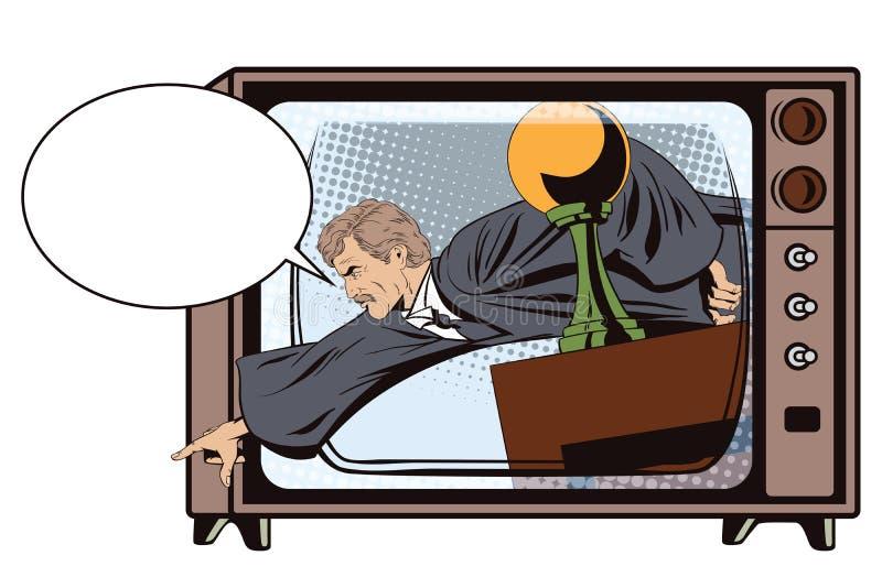Il giudice arrabbiato mostra un dito dal podio illustrazione di stock
