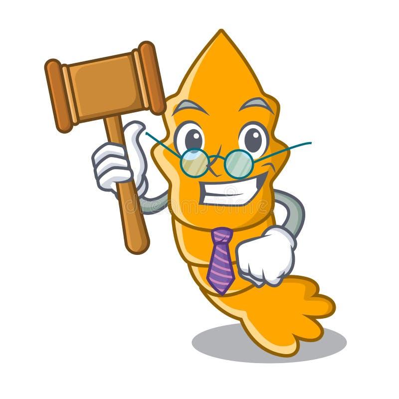 Il giudice ha cotto a vapore il gamberetto crudo fresco sul fumetto della mascotte royalty illustrazione gratis