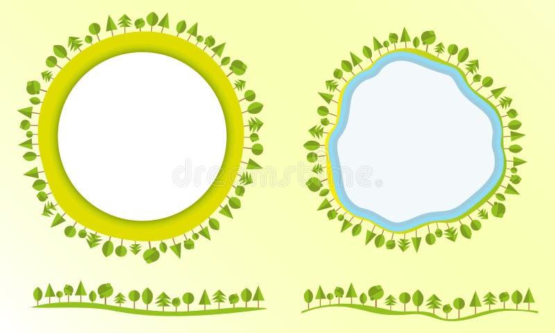 Il globo amichevole di Eco con le etichette degli alberi progetta l'illustrazione piana moderna di vettore di affari di stile deg illustrazione di stock