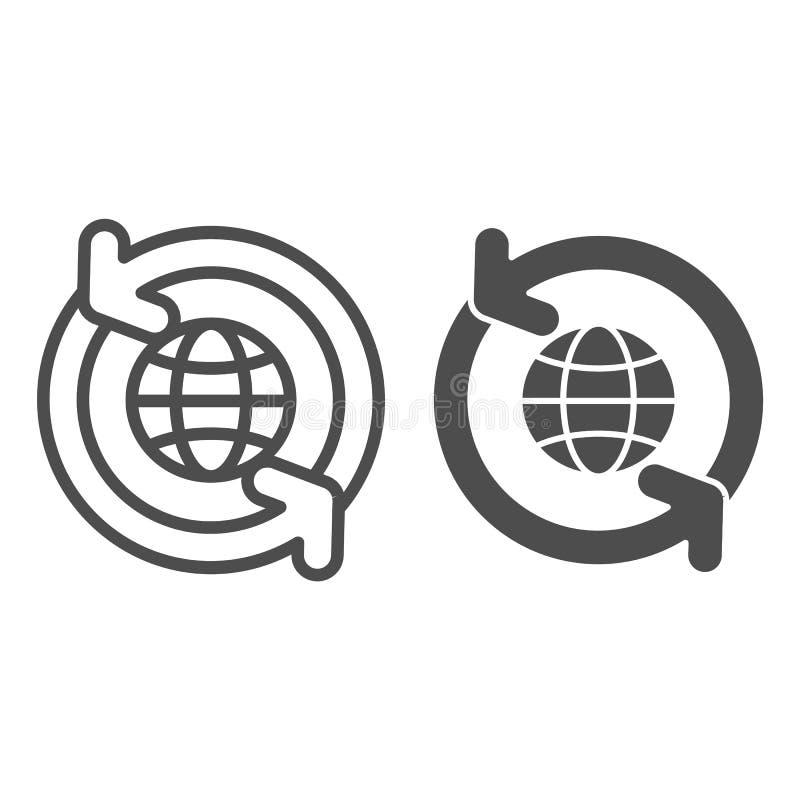 Il globo con le frecce di circolazione allinea e l'icona di glifo Mondo con l'illustrazione di circonduzione di vettore delle fre royalty illustrazione gratis