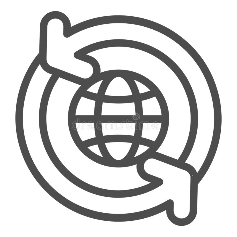 Il globo con le frecce di circolazione allinea l'icona Mondo con l'illustrazione di circonduzione di vettore delle frecce isolata illustrazione di stock
