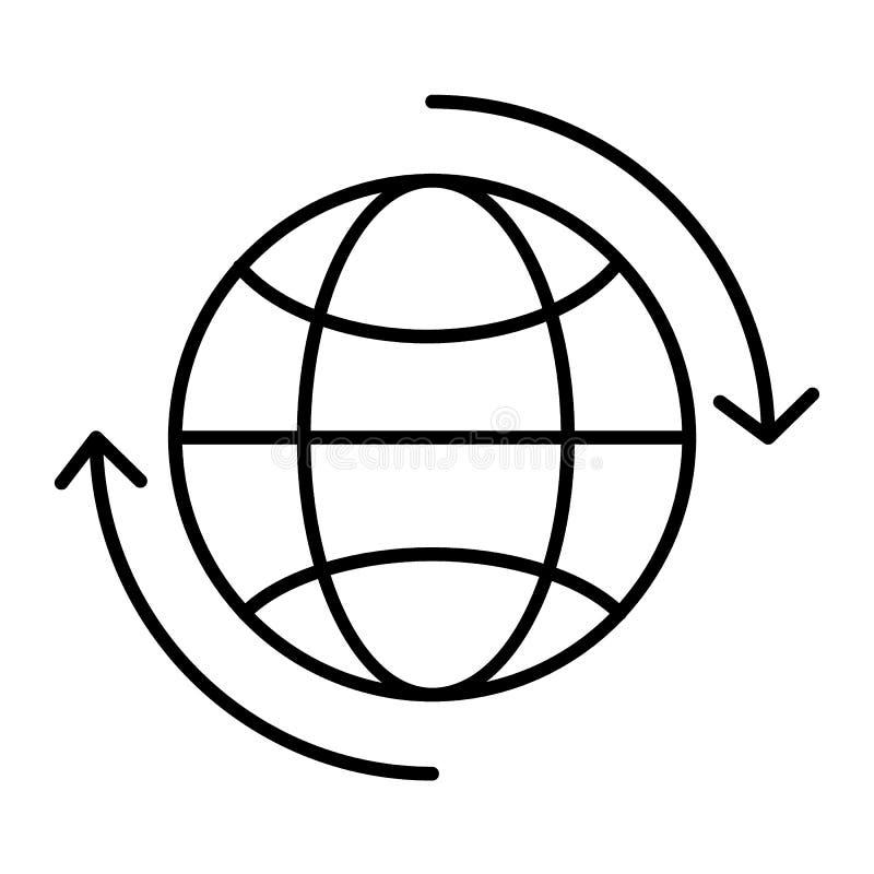 Il globo del mondo con le frecce di circolazione assottiglia la linea icona Globo con l'illustrazione di vettore del segno del ci illustrazione di stock