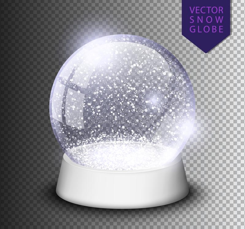 Il globo della neve ha isolato il modello vuoto su fondo trasparente Palla di magia di Natale Illustrazione realistica di vettore illustrazione vettoriale