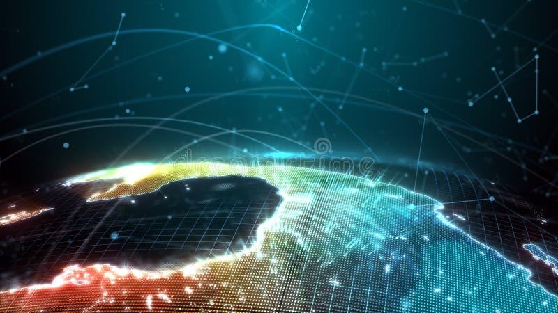 Il globo di Digital è presentato sotto forma di ologramma che emette un effetto della luce; informazione sul traffico fotografia stock