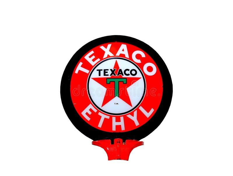 Il globo etilico d'annata della pompa di gas di Texaco ha isolato immagine stock