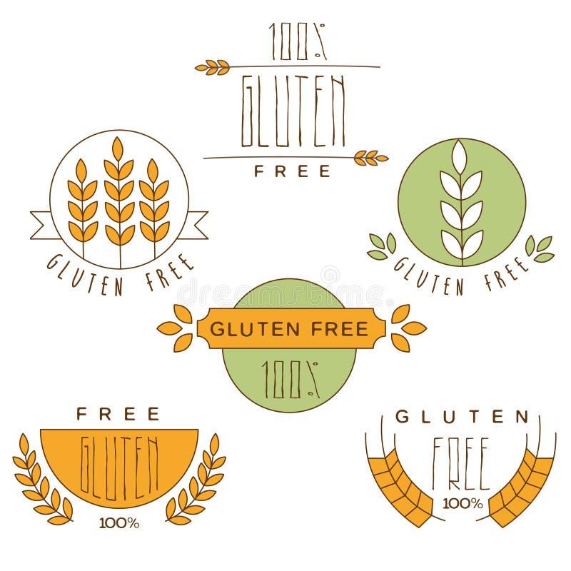Il glutine libera, etichetta del prodotto naturale illustrazione di stock