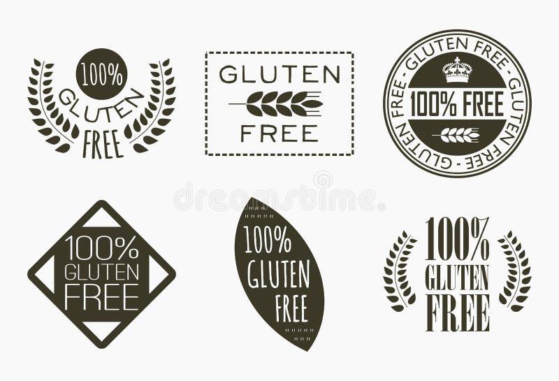 Il glutine libera le etichette illustrazione vettoriale