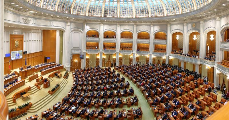 Il governo rumeno ha condotto da Sorin Grindeanu - il rumeno Parliamen fotografia stock libera da diritti
