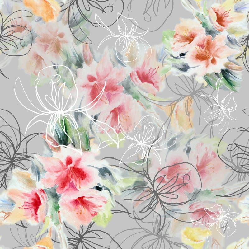Il grafico è aumentato con i fiori del mazzo dell'acquerello su un fondo grigio Reticolo senza giunte floreale royalty illustrazione gratis