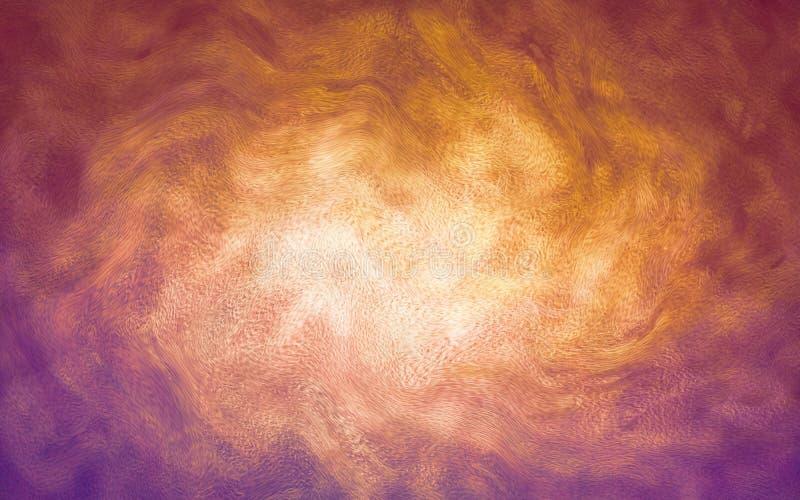Il grafico artistico dell'illusione ha spazzolato il fondo astratto di superficie con colore viola arancio moderno illustrazione di stock