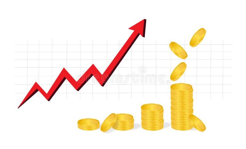 Il grafico commerciale con i mucchi delle monete dorate e di caduta conia la mostra dei profitti isolati su fondo bianco illustrazione vettoriale