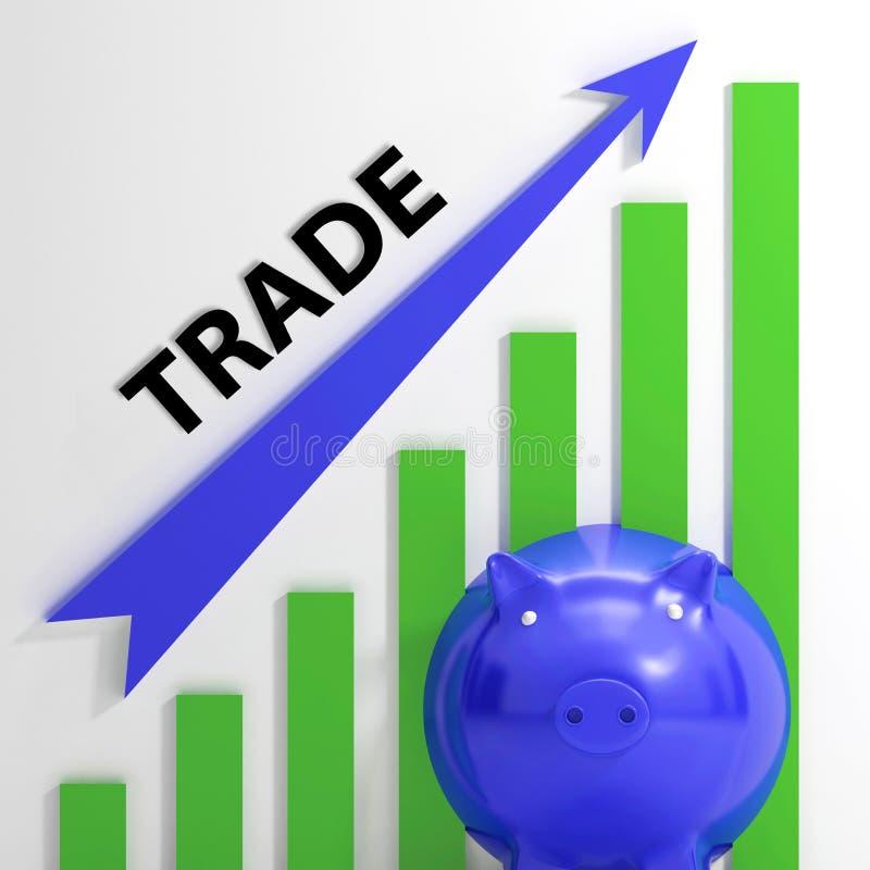 Il grafico commerciale mostra la crescita nei mercati e nel valore azionario illustrazione di stock