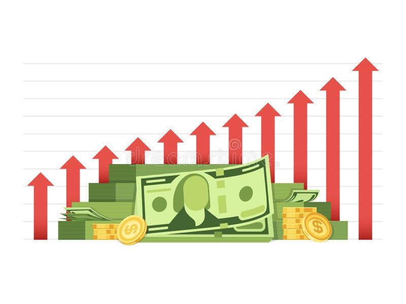 Il grafico crescente di affari con il mucchio di soldi incassa il concetto finanziario di vettore illustrazione vettoriale