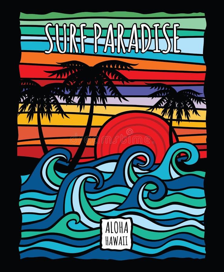 Il grafico d'annata della spuma dell'Hawai aloha con la maglietta di vettore delle onde di oceano e delle palme progetta illustrazione vettoriale