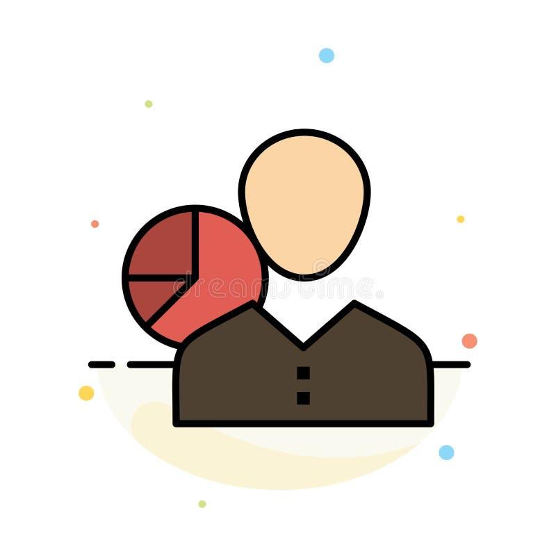 Il grafico, grafico, dati, impiegato, responsabile, persona, statistiche sottrae il modello piano dell'icona di colore illustrazione vettoriale