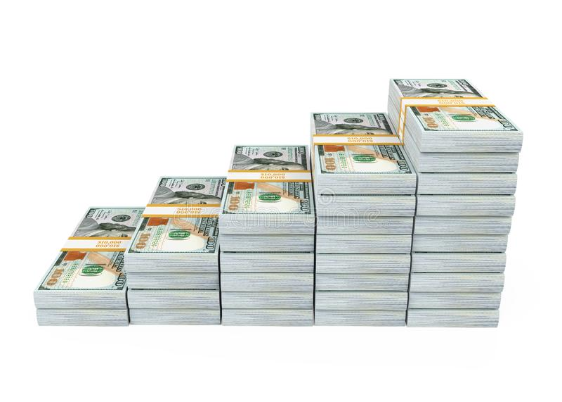 Il grafico dell'istogramma del dollaro ha isolato immagine stock